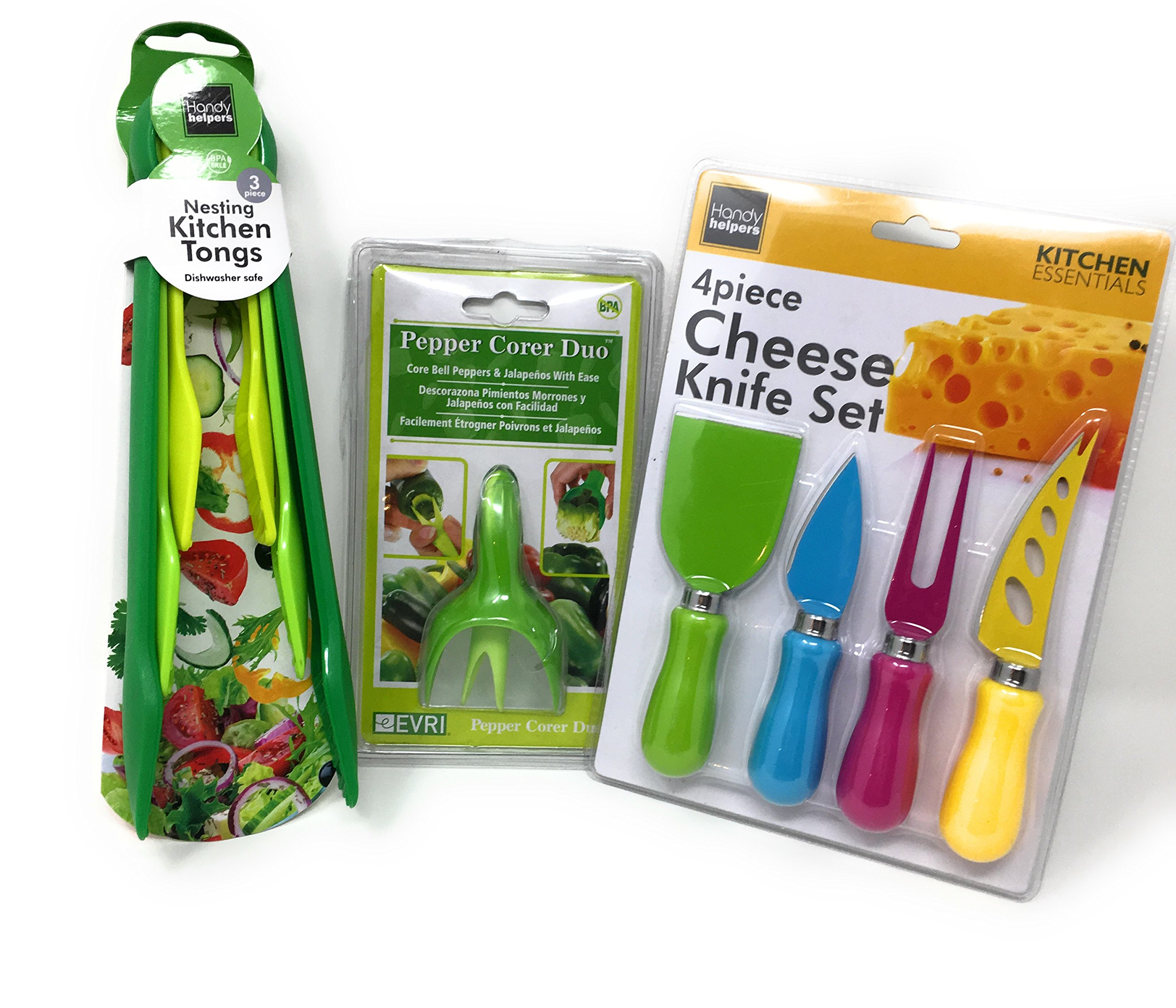 Kitchen Essentials Bundle: Practical, Fun, Adorable Cheese Knife Set (4pcs), Nestling Kitchen Tongs (3 Sizes), & Bell Pepper & Jalapeno Corer Duo by Handy Helpers
