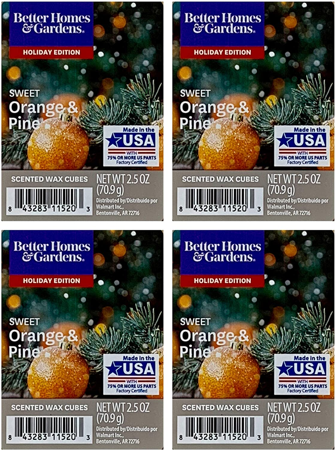 Better Homes and Gardens Sweet Orange and Pine Wax Cubes - 4-Pack
