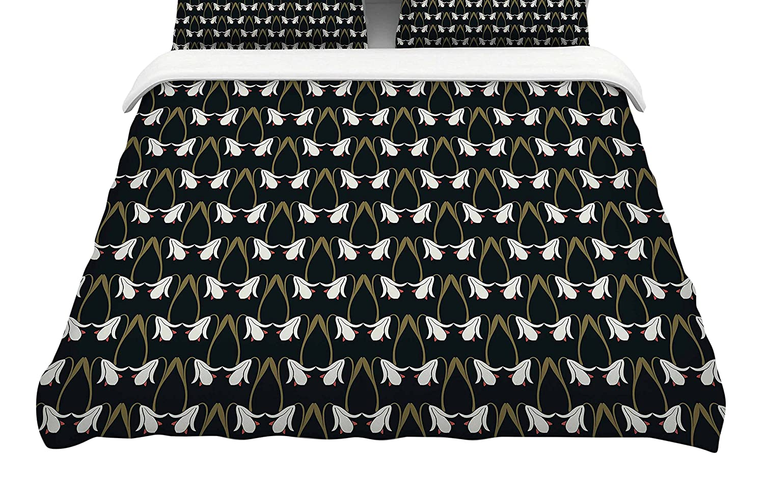 104 x 88 Kess InHouse Pom Graphic Design Bohemian Succulents II Gold White Floral King Featherweight Duvet Cover