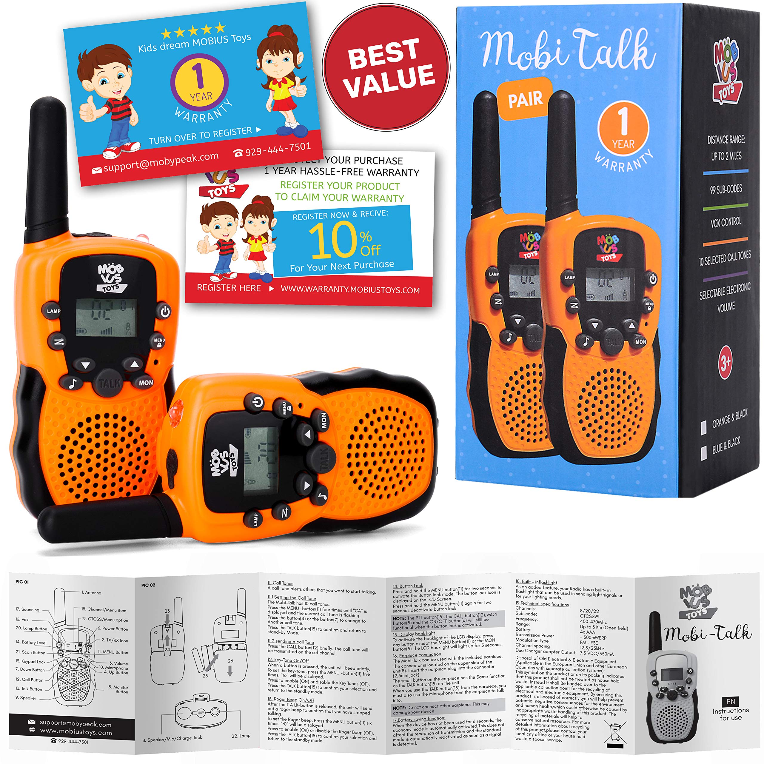 Walkie Talkies for Kids - (Vox Box) Voice Activated Walkie Talkies Toy for Kids, Two Way Radios Pair for Boys & Girls, Limited Edition Color Best Gift Long Range 3+ Miles Children's Walkie Talkie Set