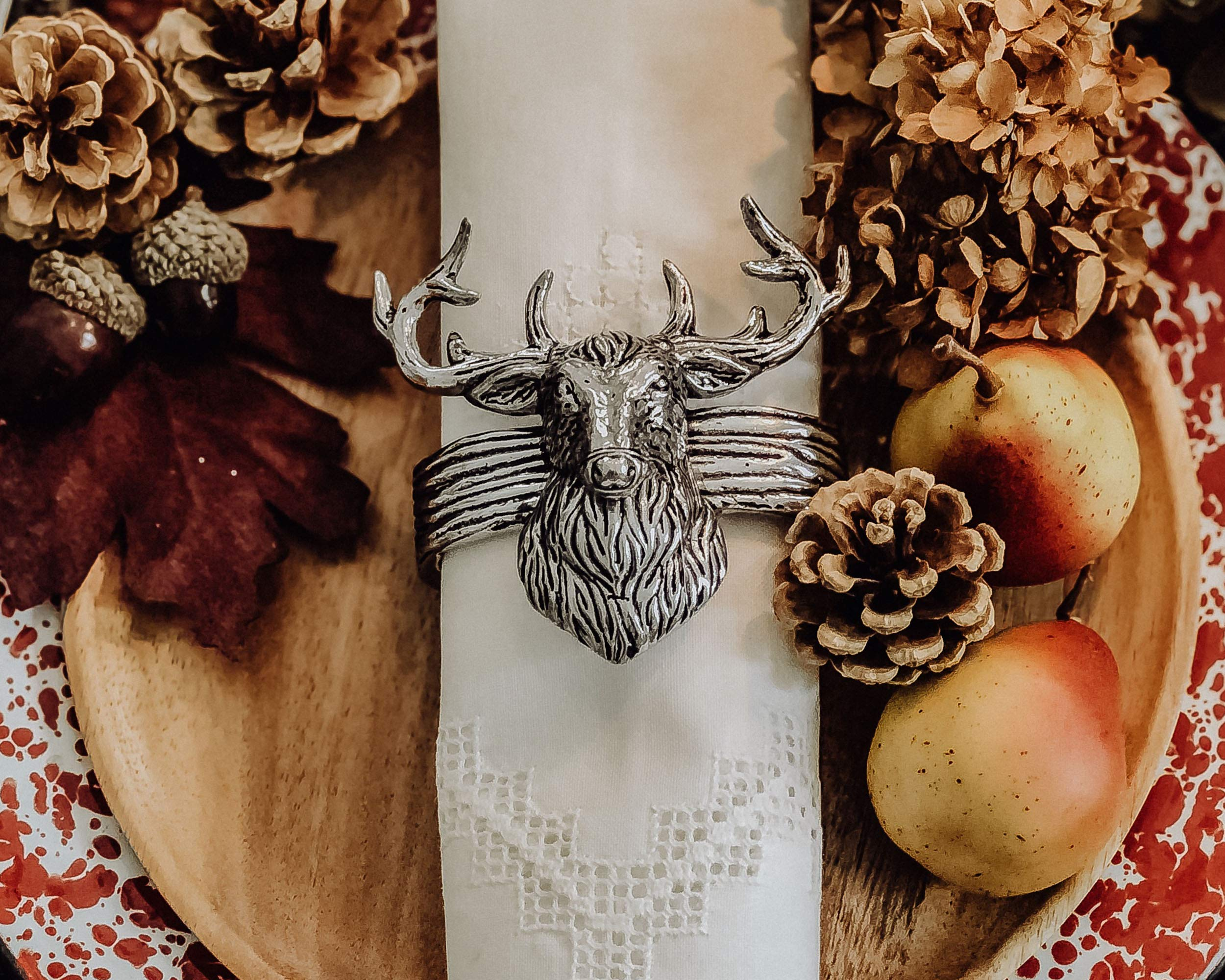 """Arthur Court Aluminum Napkin Rings with Elk Head Rustic table 3"""" tall; Lodge Style Collection Set of 4 Artisan Crafted Designer Rings"""