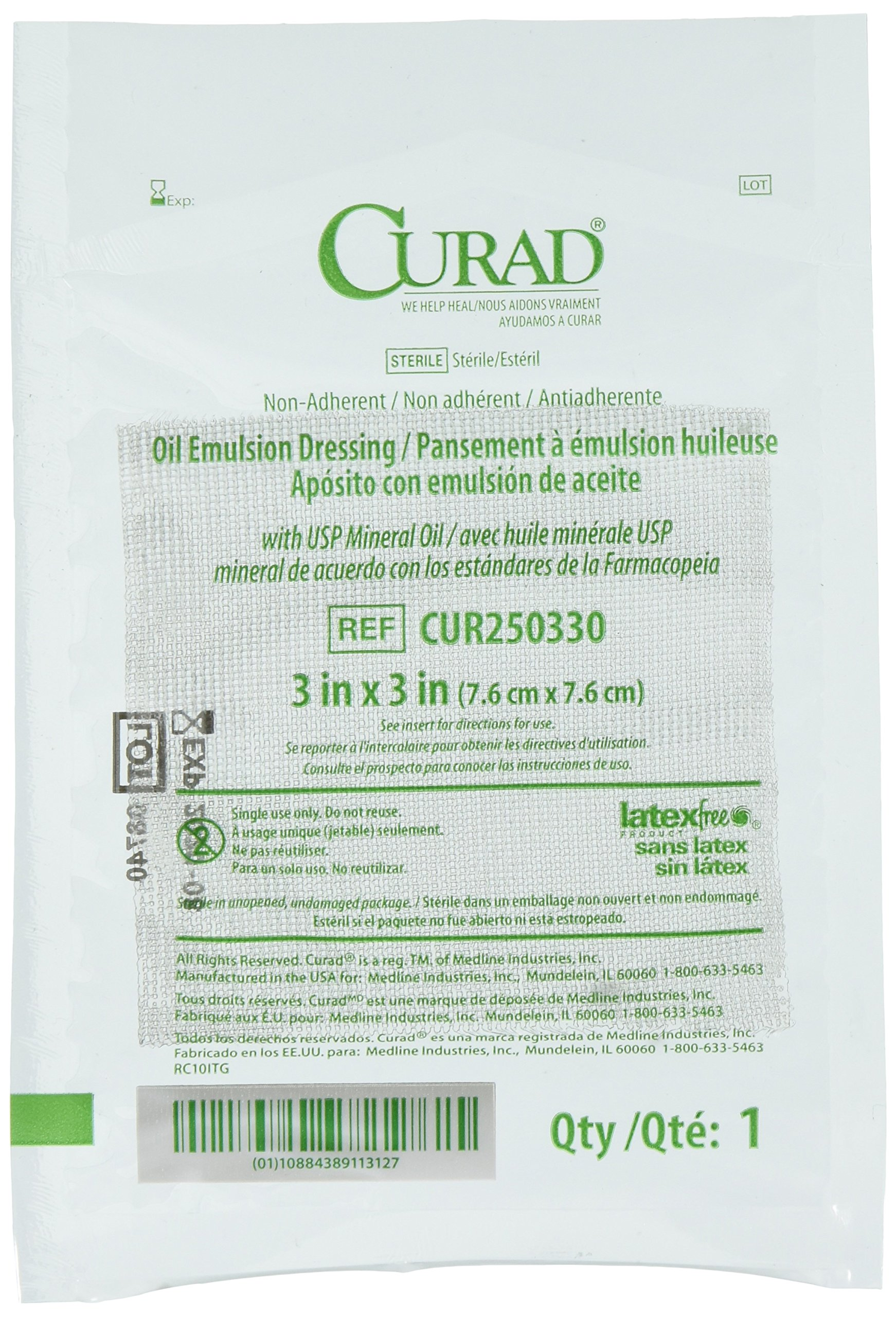 Curad Sterile Oil Emulsion Non-Adherent Gauze Dressing, 3x3 inches, for Minor Burns, Abrasions, 50 Count by Curad