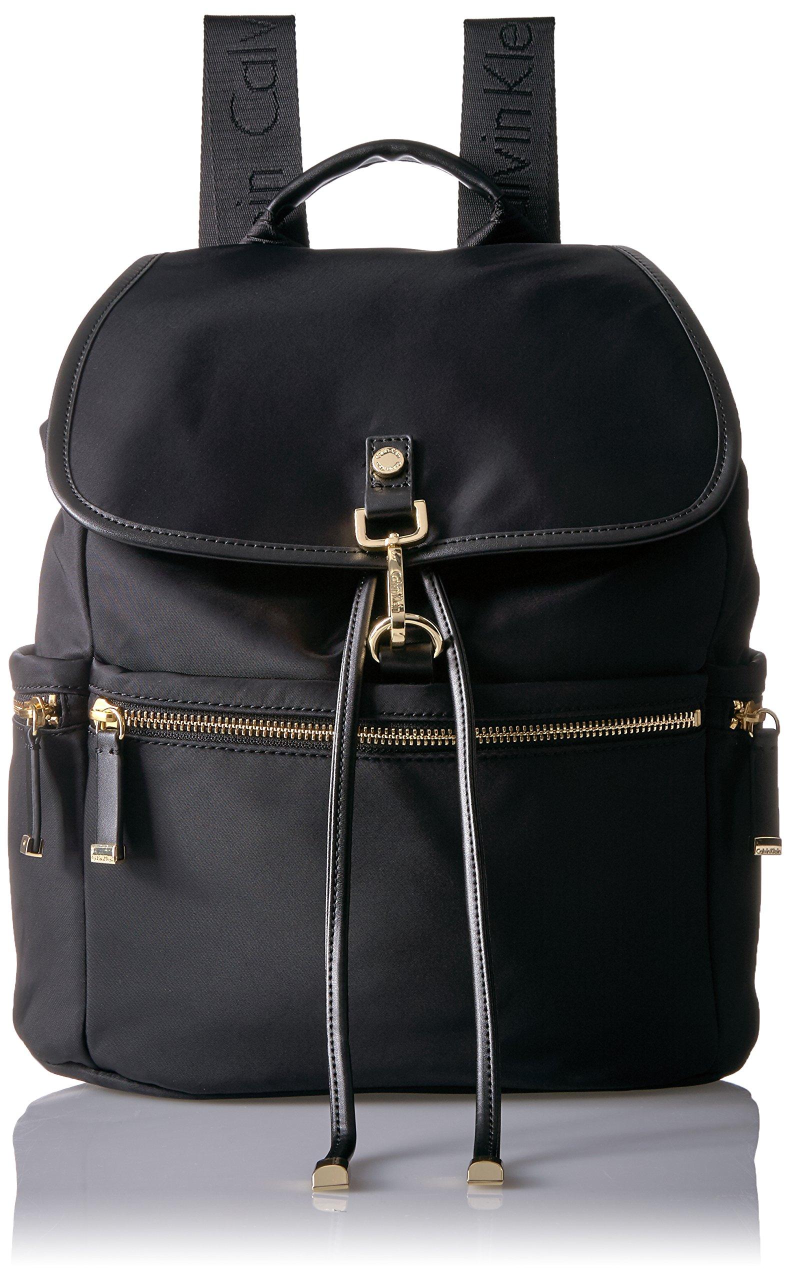 Calvin Klein Lianna Nylon Flap Over Backpack Shoulder Bag, BLACK/GOLD, One Size