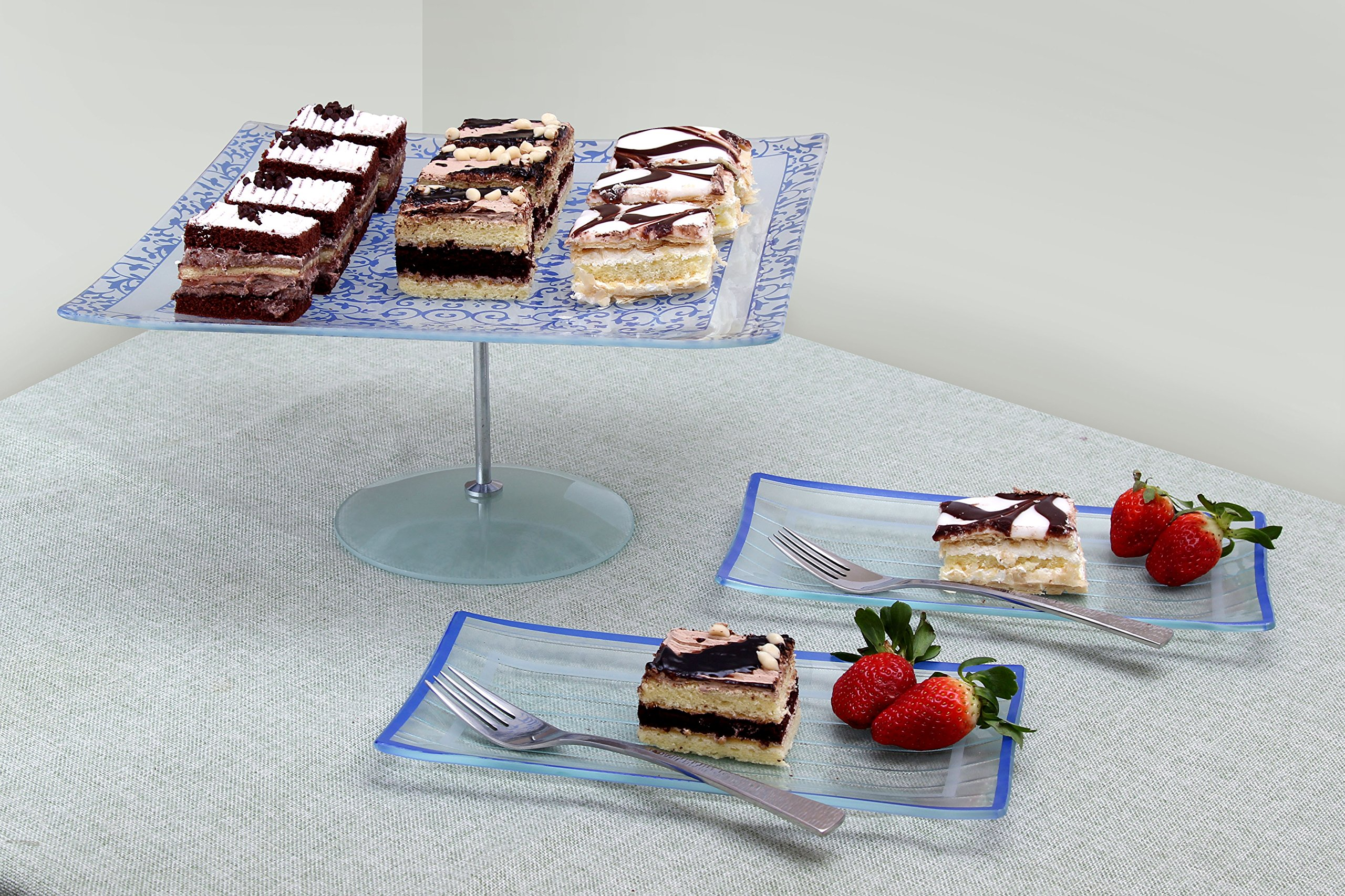 GAC Rectangular Tempered Glass Salad/Dessert Plate Set With Blue Trim, Service for 8, Break and Chip Resistant – Microwave and Oven Safe – Dishwasher Safe - Decorative Serving Plate by GAC (Image #4)