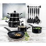 BEEM 17-tlg. Multi-Star Topfset Aluminiumguss Kochgeschirr mit 28cm Bratpfanne und Küchenhelferset Schwarz