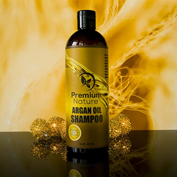 Argan Oil Daily Shampoo 16 oz, All Organic, Rejuvenates Heat Damaged Hair, Nourishes & Prevents Breakage, Sulfate Free, Vitamin Enriched Formula by Premium ...