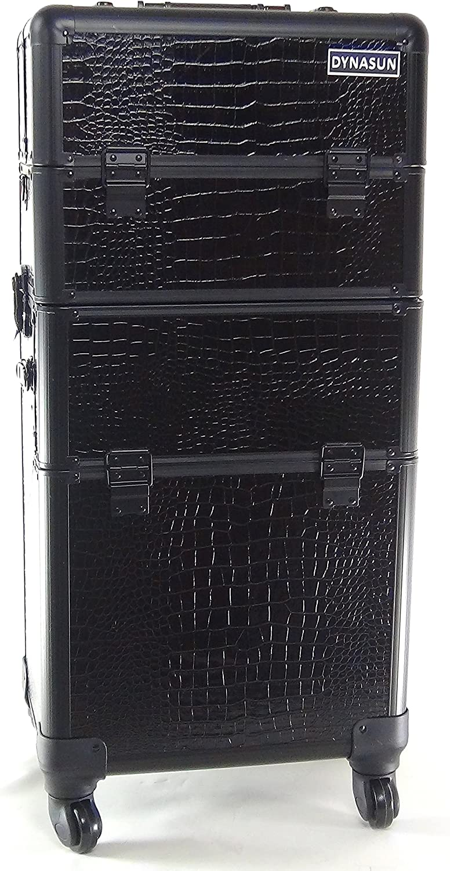 DynaSun BS40 37x29x80cm XXL Negro Maletín Maquillaje Cosmética Estética Multiuso Caja Maleta Belleza Cofre con diseño en Cuero de cocodrilo