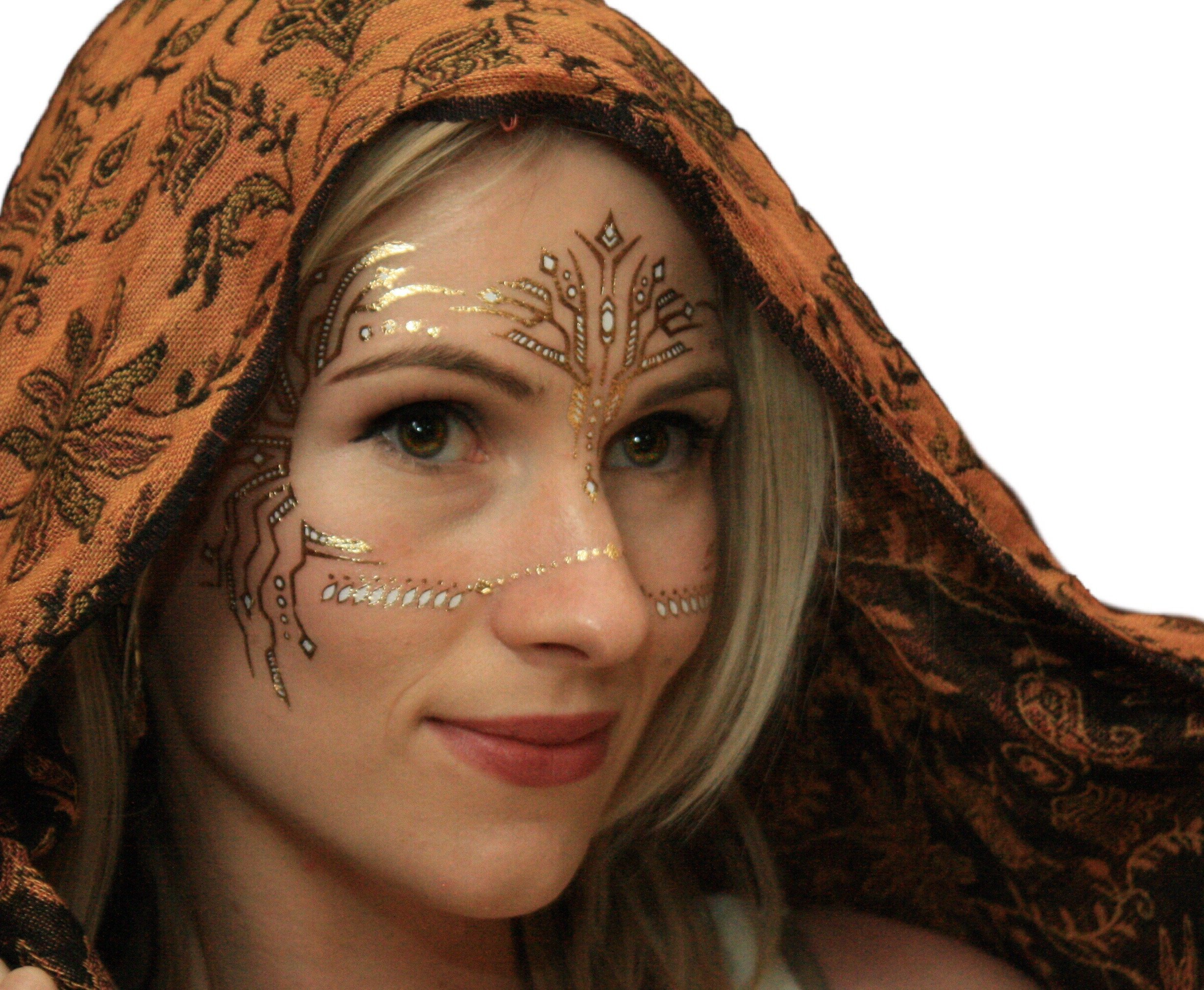 Gold Temporary Tattoos by Golden Ratio Tats, Festival Face Paint, Gold and White Flash Tattoos (CirquiTree Mask) by Golden Ratio Tats (Image #2)