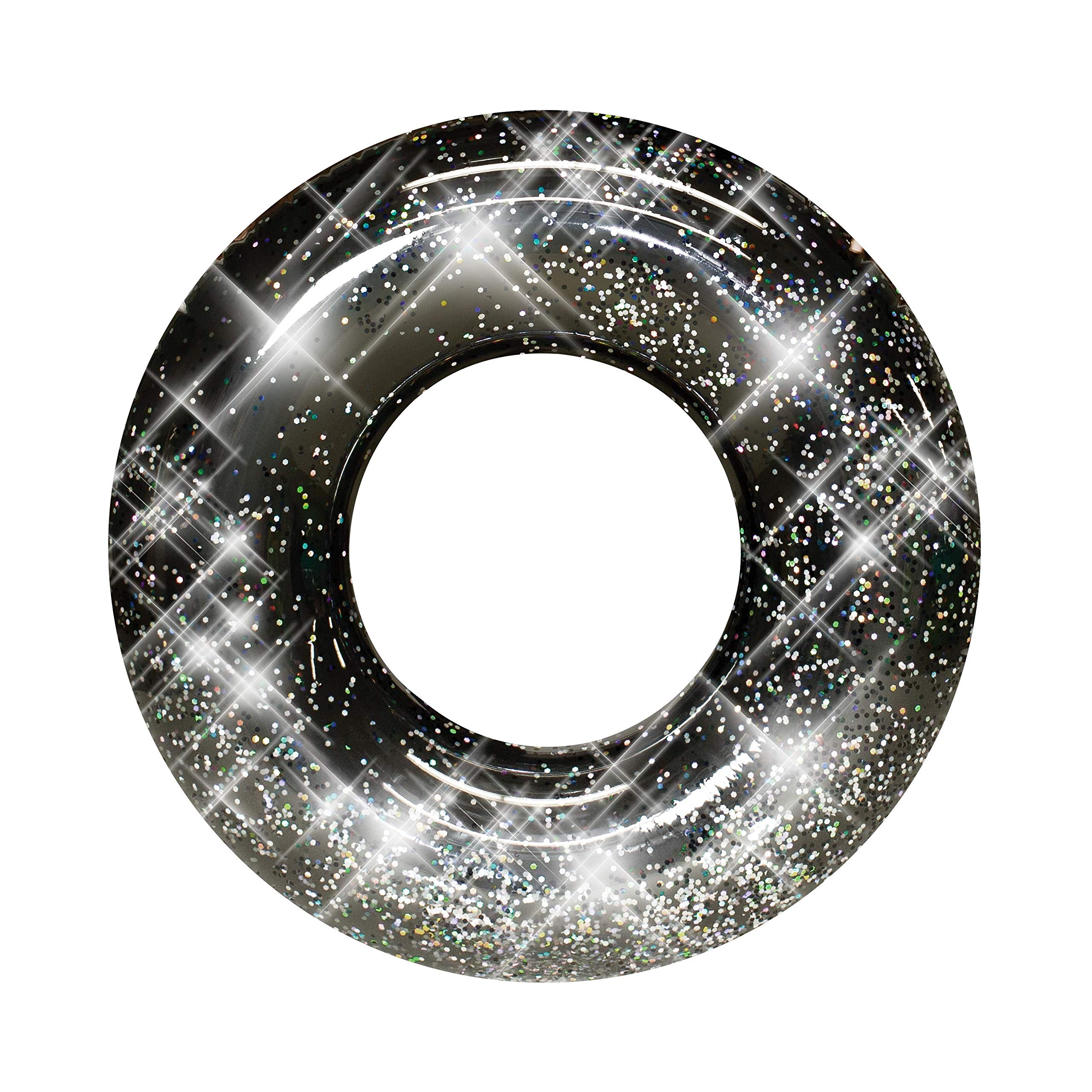 PoolCandy Jumbo 48'' Black Glitter Swim Ring - Extra Large for The Pool Beach or Lake-Kids Teens Adults- Glitter Inside Sparkles and Shines in the Sun - THE ORIGINAL GLITTER INFLATABLE TUBES AND FLOATS by Poolcandy