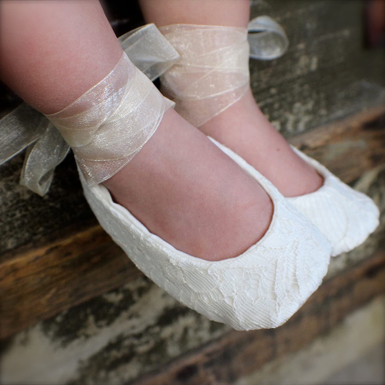f4bb9367715cd Handmade Sparkle Lace Flower Girl Shoes, Baby Girl Shoes, Toddler ...