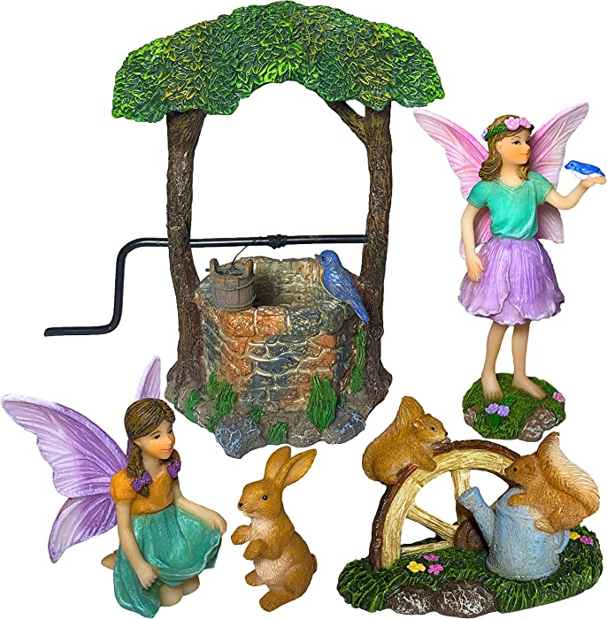 Mood Lab Fairy Garden - Miniature Figurines and Accessories Wishing Well Set of 5 pcs - Fairies Statue Kit