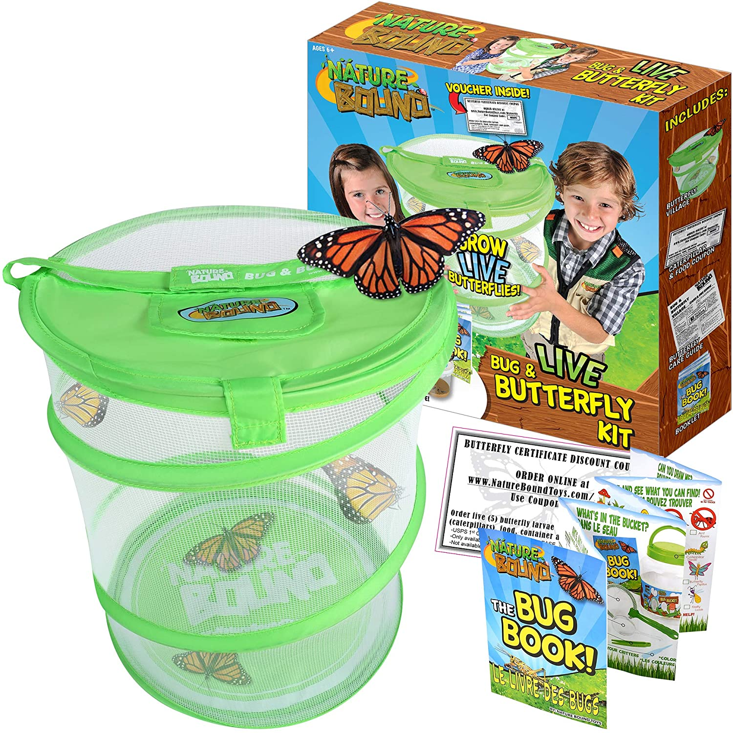 Nature Bound Butterfly Growing Habitat Kit - with Voucher to Redeem Live Caterpillars for Home or School Use - Green Pop-Up Cage 12-Inches Tall