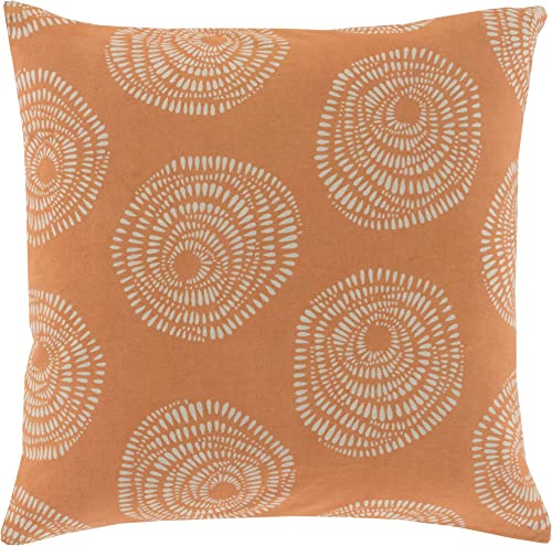 Surya LJS003-1818P Synthetic Fill Pillow, 18-Inch by 18-Inch, Burnt Orange Light Gray