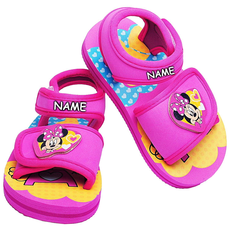 Unbekannt Sandalen / Badeschuhe - Gr. 22 / 23 - ' Disney - Minnie Mouse  - incl. Name - mit Klettverschluss / Fersen Riemchen - Aquaschuhe Antirutsch - Riemchensandale..