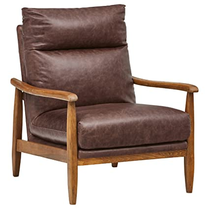 Incredible Stone Beam Alderman Mid Century Modern Accent Chair 29 9W Dark Brown Leather Pabps2019 Chair Design Images Pabps2019Com