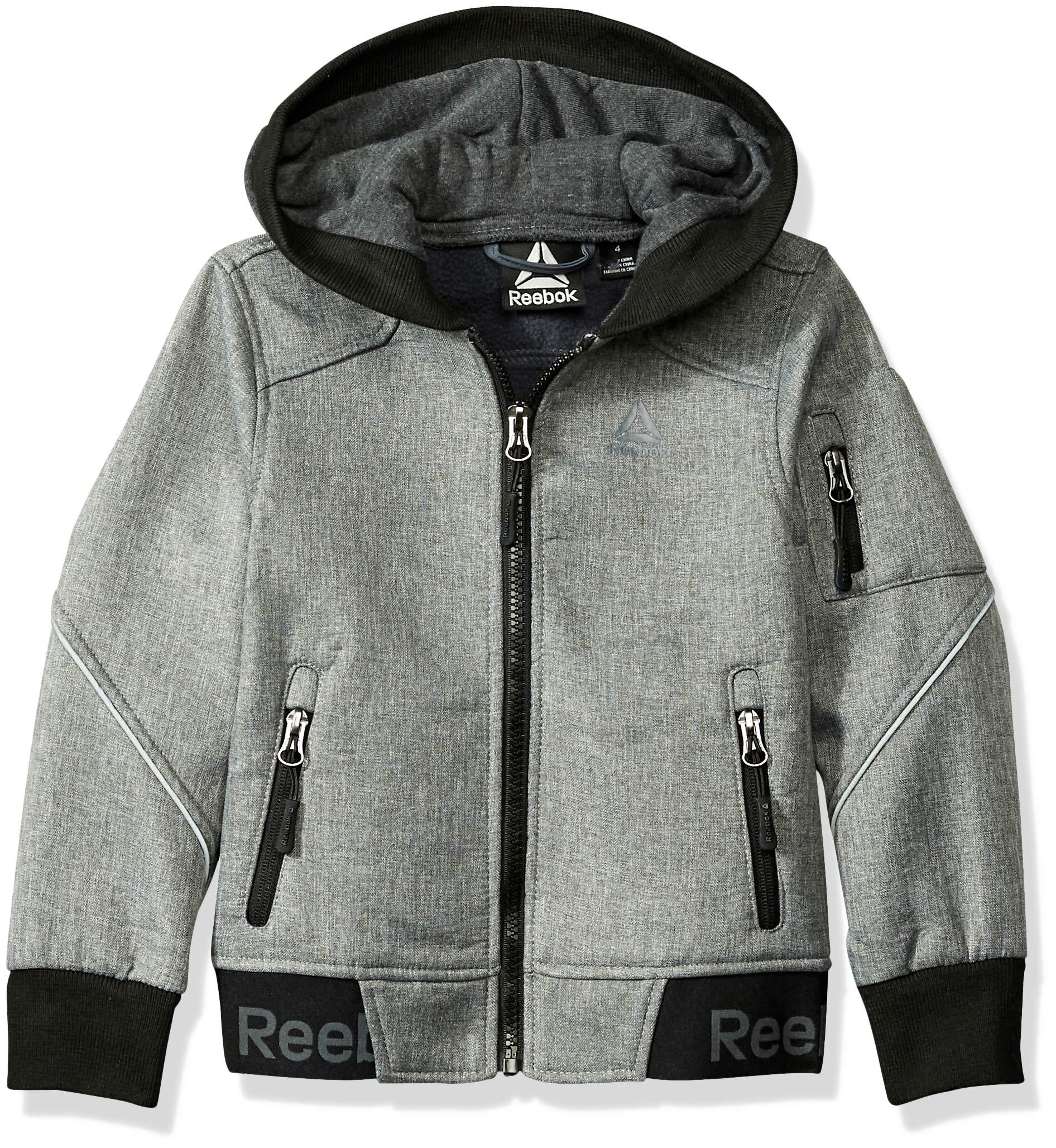Reebok Boys' Little' Active Logo Hem Jacket, Grey Heather, 5/6
