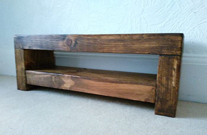 Super Slim Tv Stand Chunky Rustic Wood Finished In Medium Oak Machost Co Dining Chair Design Ideas Machostcouk