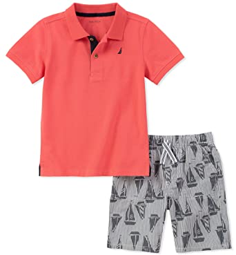 b6ac53952 Amazon.com: Nautica Boys' Polo with Shorts: Clothing