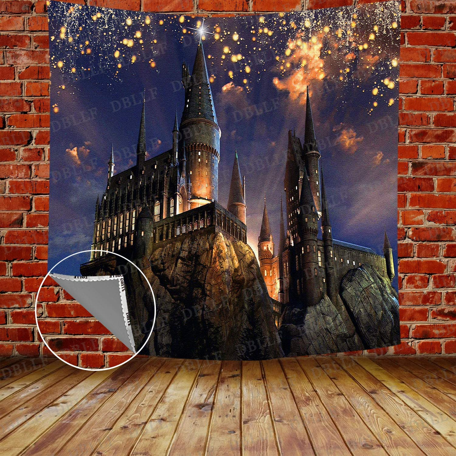 DBLLF Gothic Ancient Castle Tapestry Halloween Night View Tapestry Magic Tapestry, Large 84