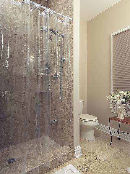 Size 72u0026quot; X 72u0026quot; Clear Shower Curtain Liner Berrnour Home Venice  Collection Heavy Duty