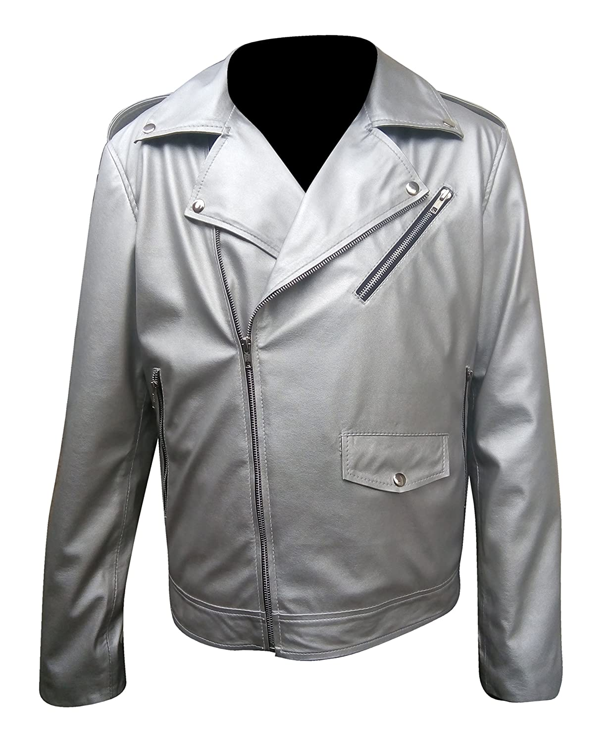 Mens Silver Faux Leather Jacket