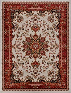 Nevita Collection Isfahan Persian Traditional Design Area Rug Off-White Red (Also Available in Red, Beige Blue, Black, Navy Colors) (Off-White Red, 7' 10