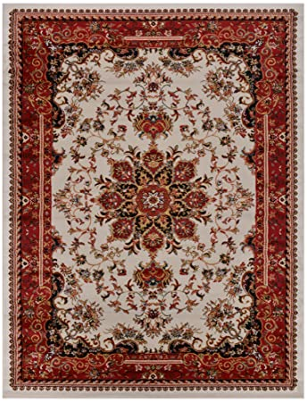 Nevita Collection Isfahan Persian Traditional Design Area Rug Off White Red Also Available In