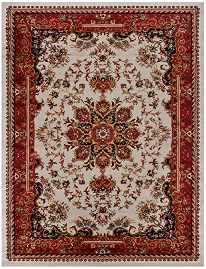 85914529ec Nevita Collection Isfahan Persian Traditional Design Area Rug Off-white Red  (Also Available In