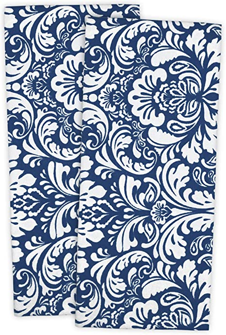 Amazon Com Dii Cotton Damask Kitchen Dish Towels 28 X 18 Set Of 2 Low Lint Decorative Tea Towel For Everyday Cooking And Baking Nautical Blue
