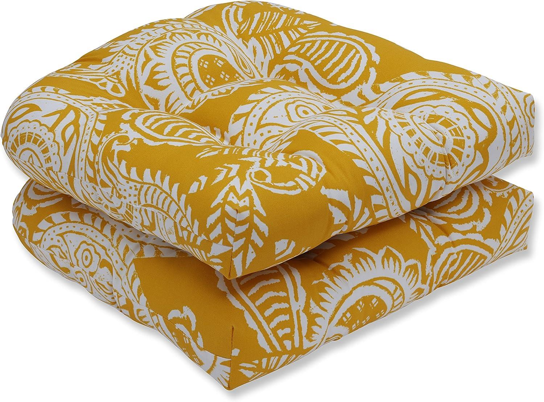 Pillow Perfect Outdoor | Indoor Addie Egg Yolk Wicker Seat Cushion (Set of 2), 2 Piece