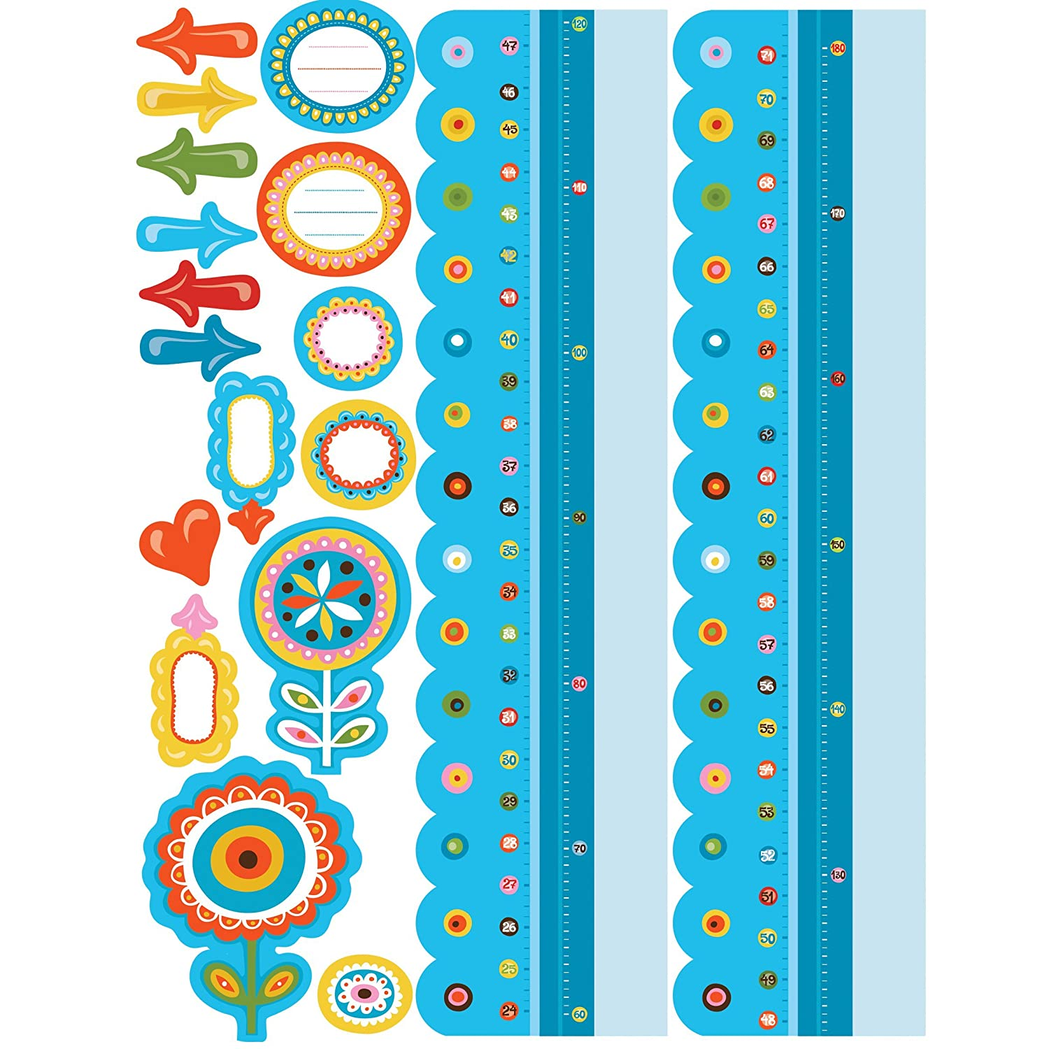 Reusable Blue Dry Erase Growth Chart Sticker Wallies Wall Decals 6-inch x 49-inch 13541