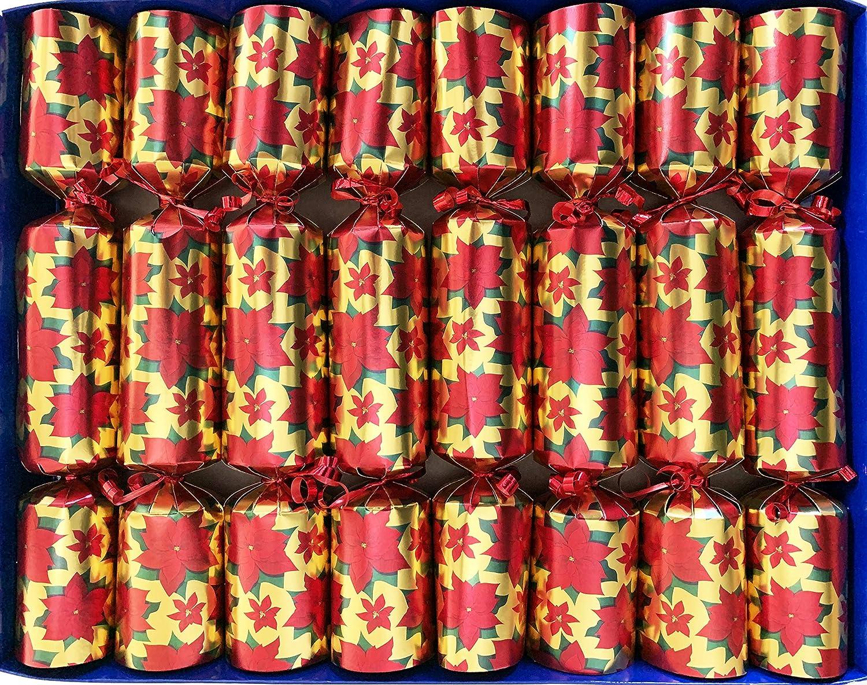 Crackers Ltd - Juego de 8 galletas navideñas de Poinsettia roja en oro con decoraciones de Belén