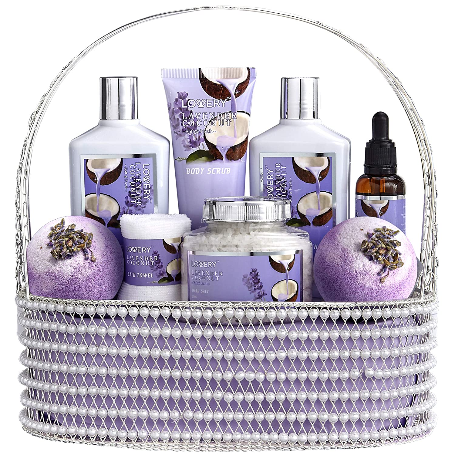 Home Spa Gift Baskets for Women & Men - Bath and Body Gift Basket – Deluxe Spa Set of Lavender Coconut, Includes Bath Salt, Extra Large Bath Bombs, Bath Oil & More - Wrapped in a Handmade Pearl Basket