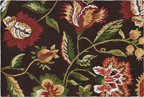 SketchONE Wool Hooked Rug, 24 by 36-Inch, Jacobean, Brown