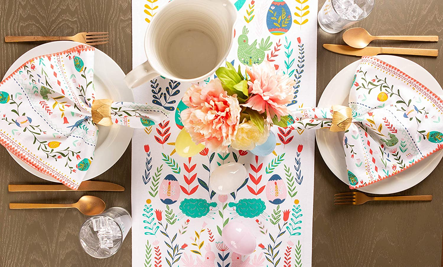 Cotton Table Runner with Tassels for Easter 14x72
