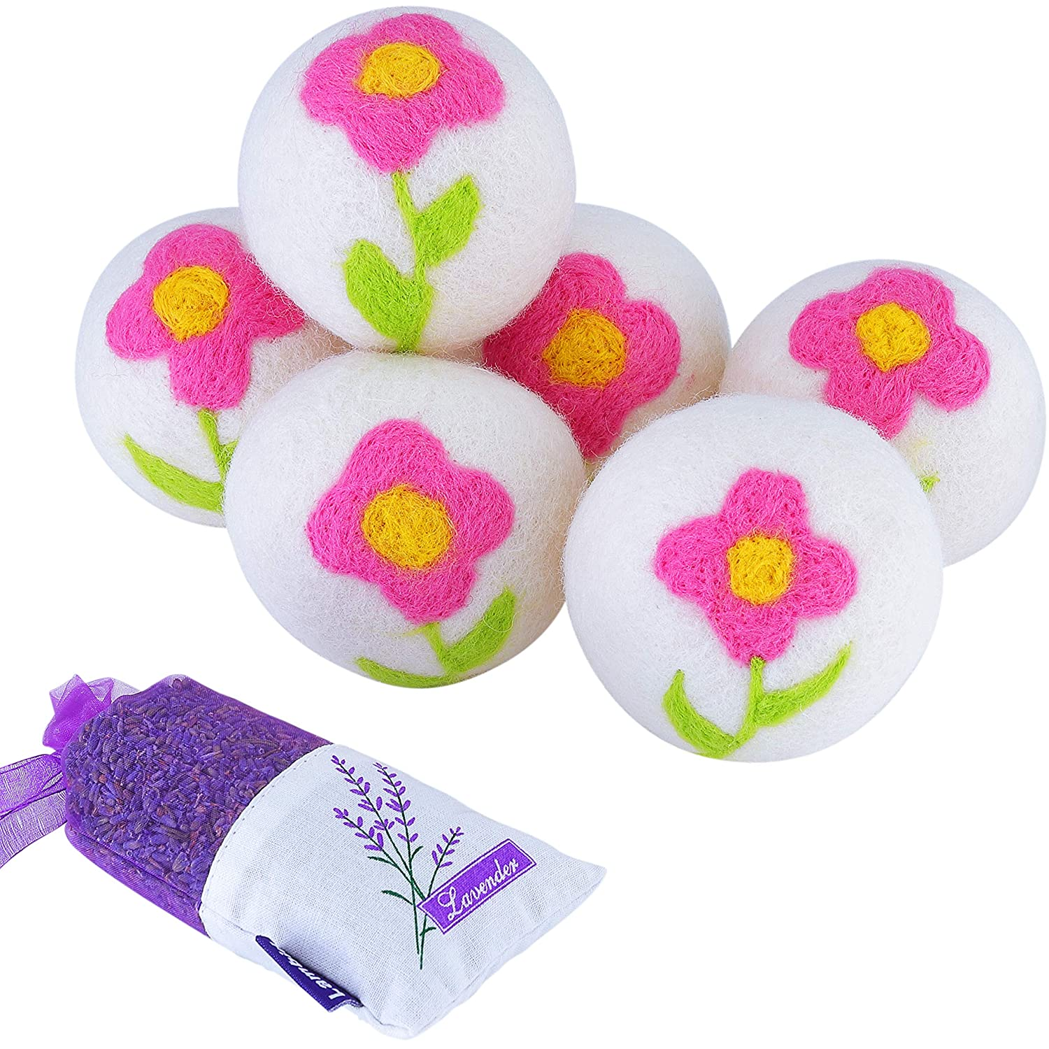 Wool Dryer Balls for Laundry with Delicate Country Garden Floral Pattern, 6 Pack 100% Organic NZ Wool - Reusable Eco Dryer Balls | Odorless Natural Fabric Softener, Less Wrinkles & Anti Static Cling
