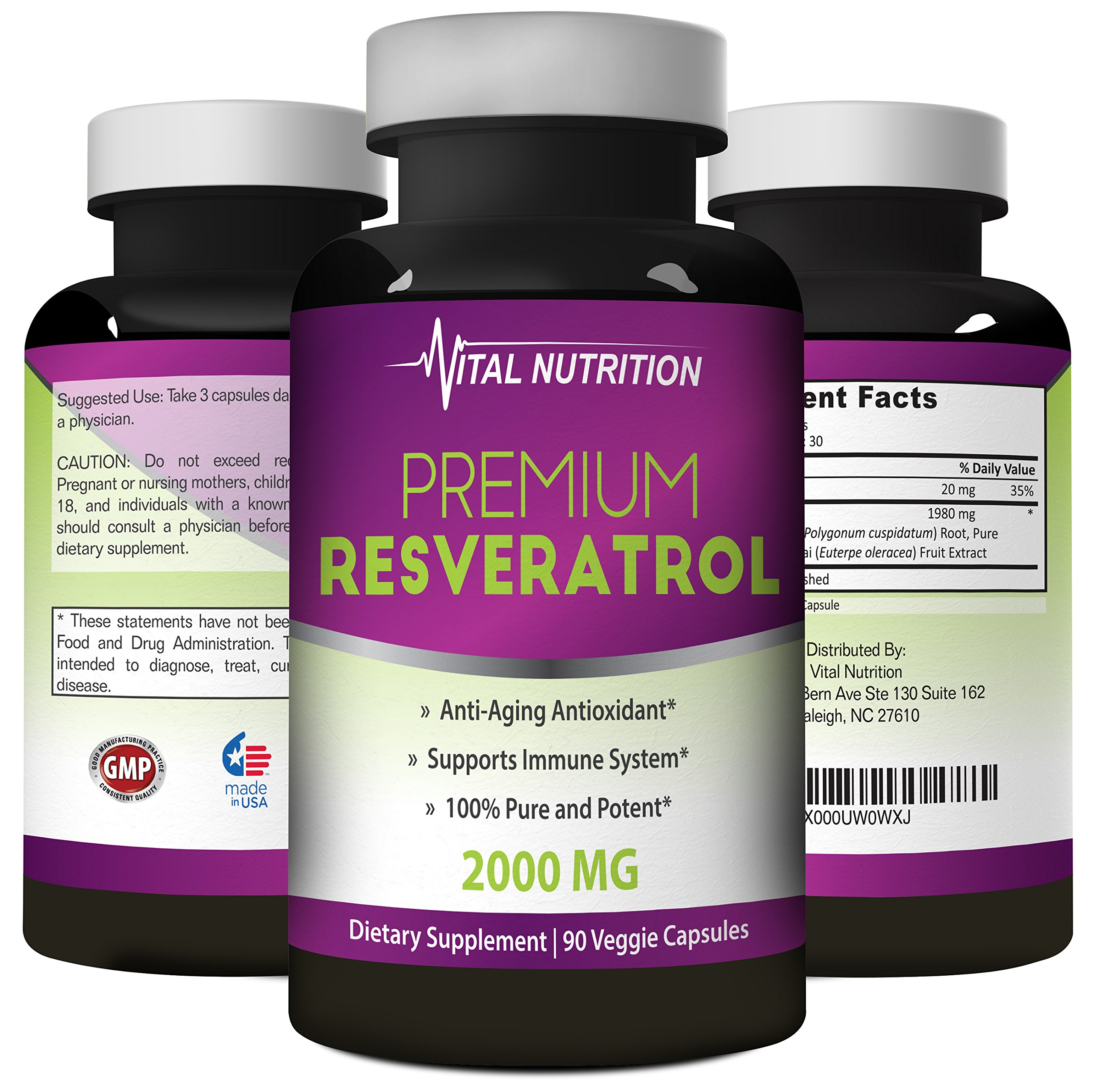 Pure Resveratrol - 2000mg - Strongest, Most Effective Blend on Amazon - 90 Capsules - Order Risk Free by Vital Nutrition