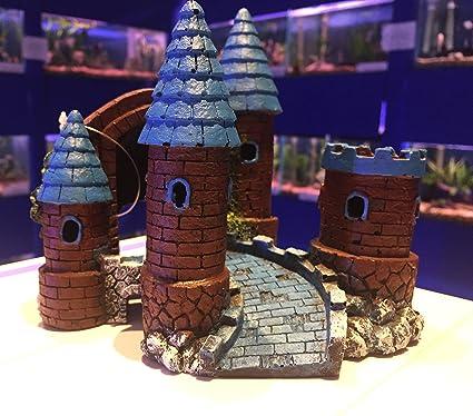 Castillo mediano con torretas colorido acuario pecera adorno