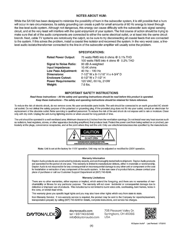 Dayton Audio SA100 100W Subwoofer Plate Amplifier: Amazon.de: Elektronik