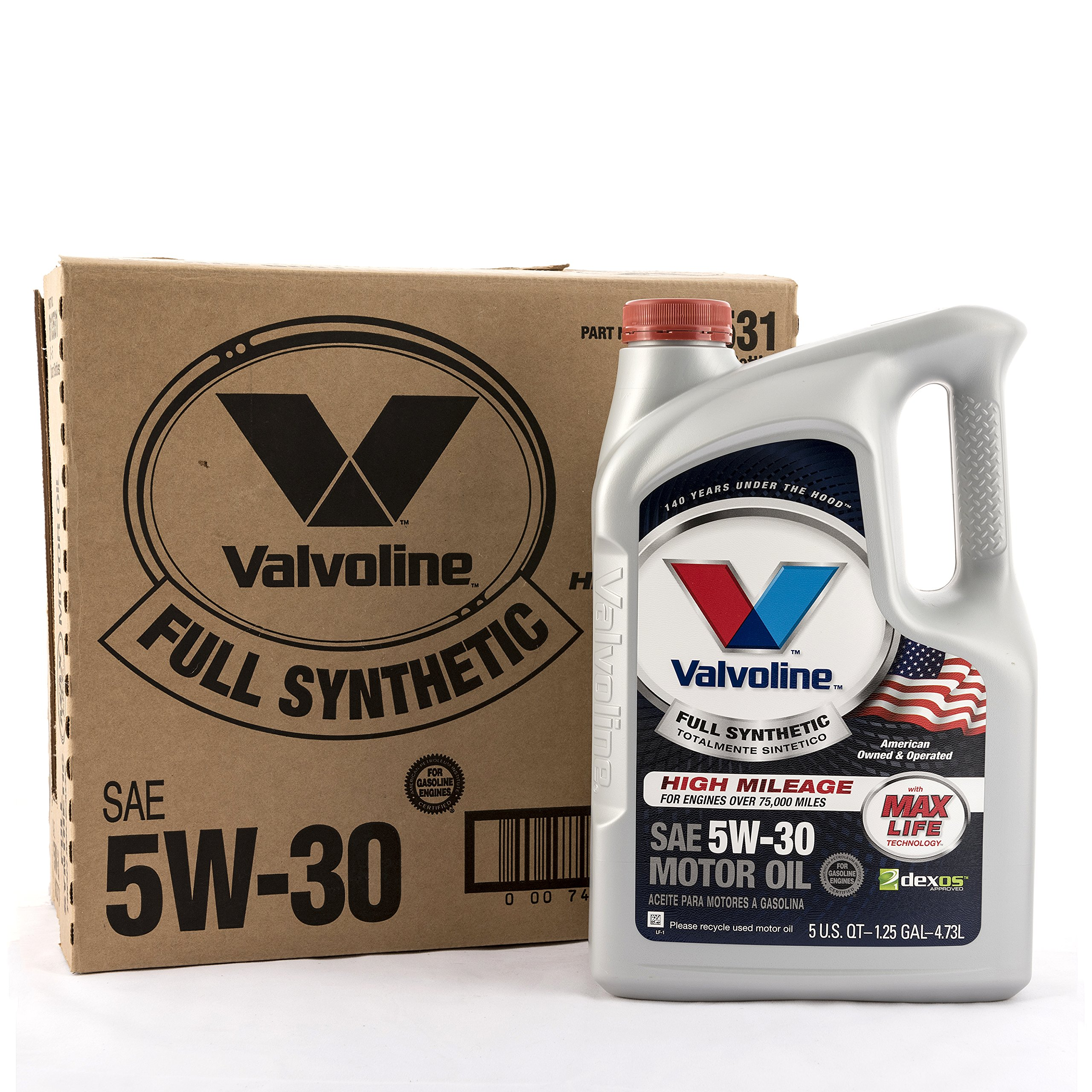 Valvoline 5W-30 Full Synthetic High Mileage Motor Oil - 5qt (Case of 3) (813531-3PK) by Valvoline