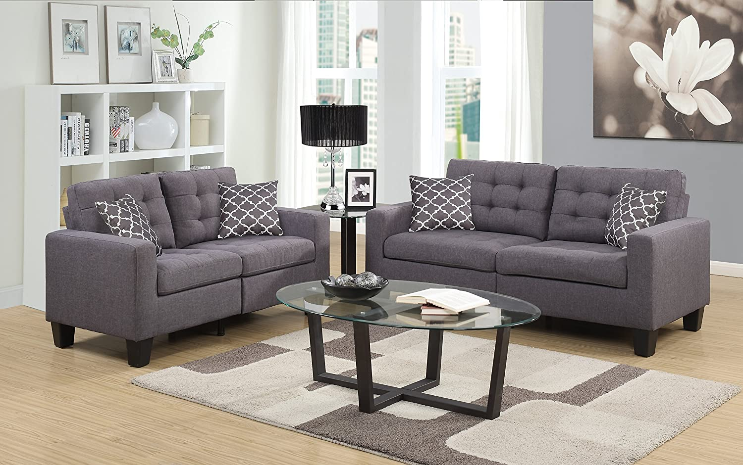 Amazon.com: Home Source U-13379-SL Grey Sofa and Loveseat ...