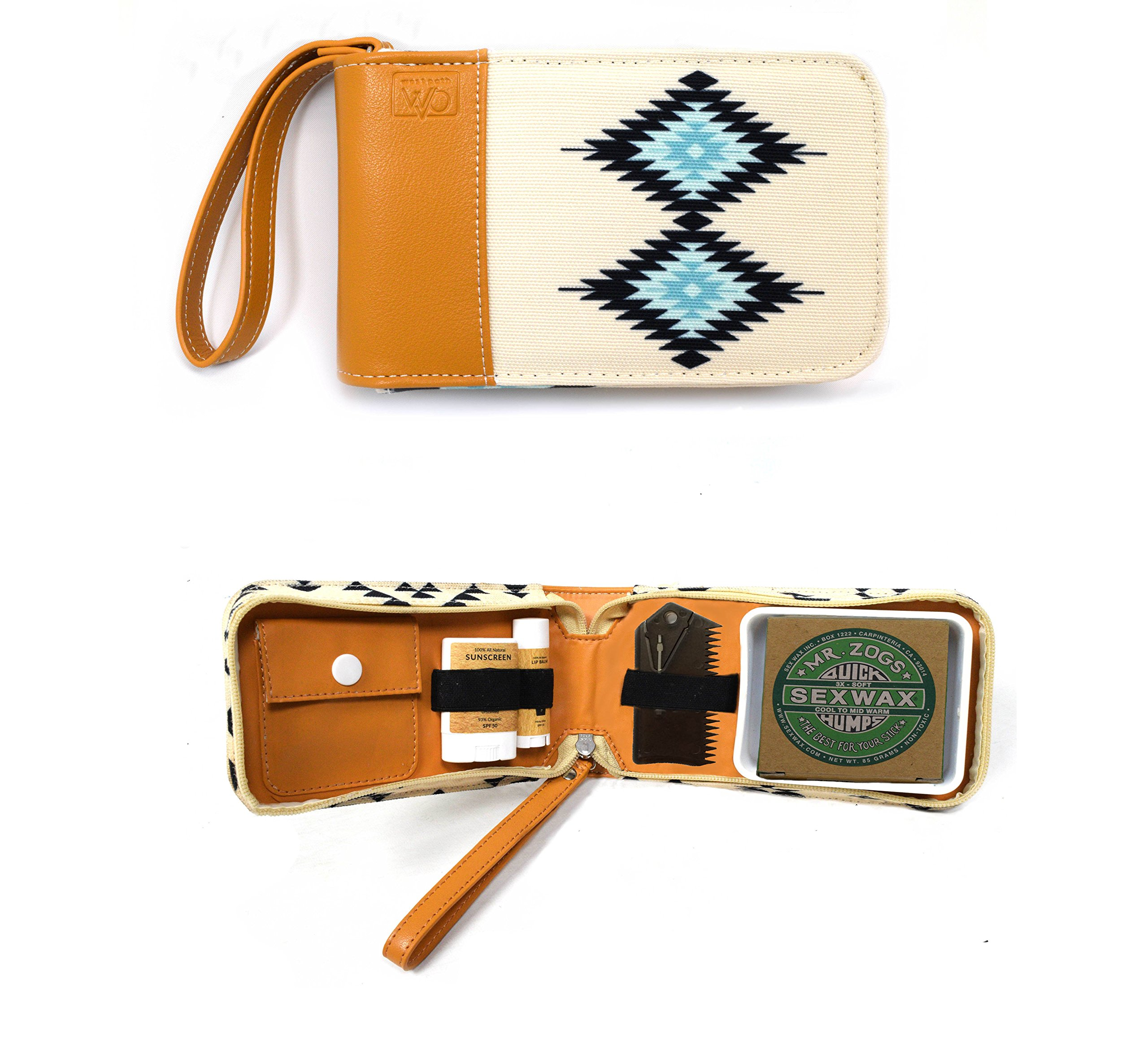 Surf Kit - A Great Surfer Gift & Surf Accessory that Holds your Sex Wax, Organic Sunscreen Face Stick, All Natural Lip Balm, Wax Scraper, and More! All in a Stylish Navajo Design Surf Wax Holder!