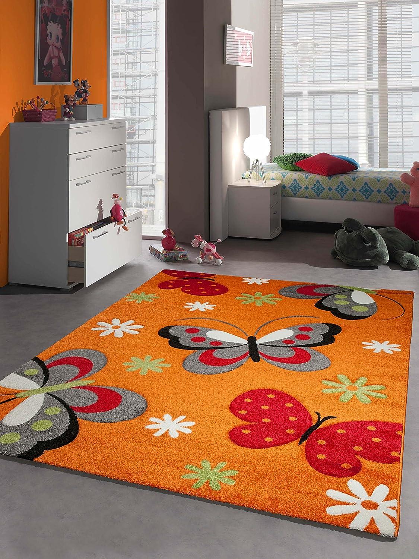 Tappeto bambini tappeto di gioco di disegno della farfalla Arancione Verde Rosso Grigio Bianco Größe 80x150 cm Traum