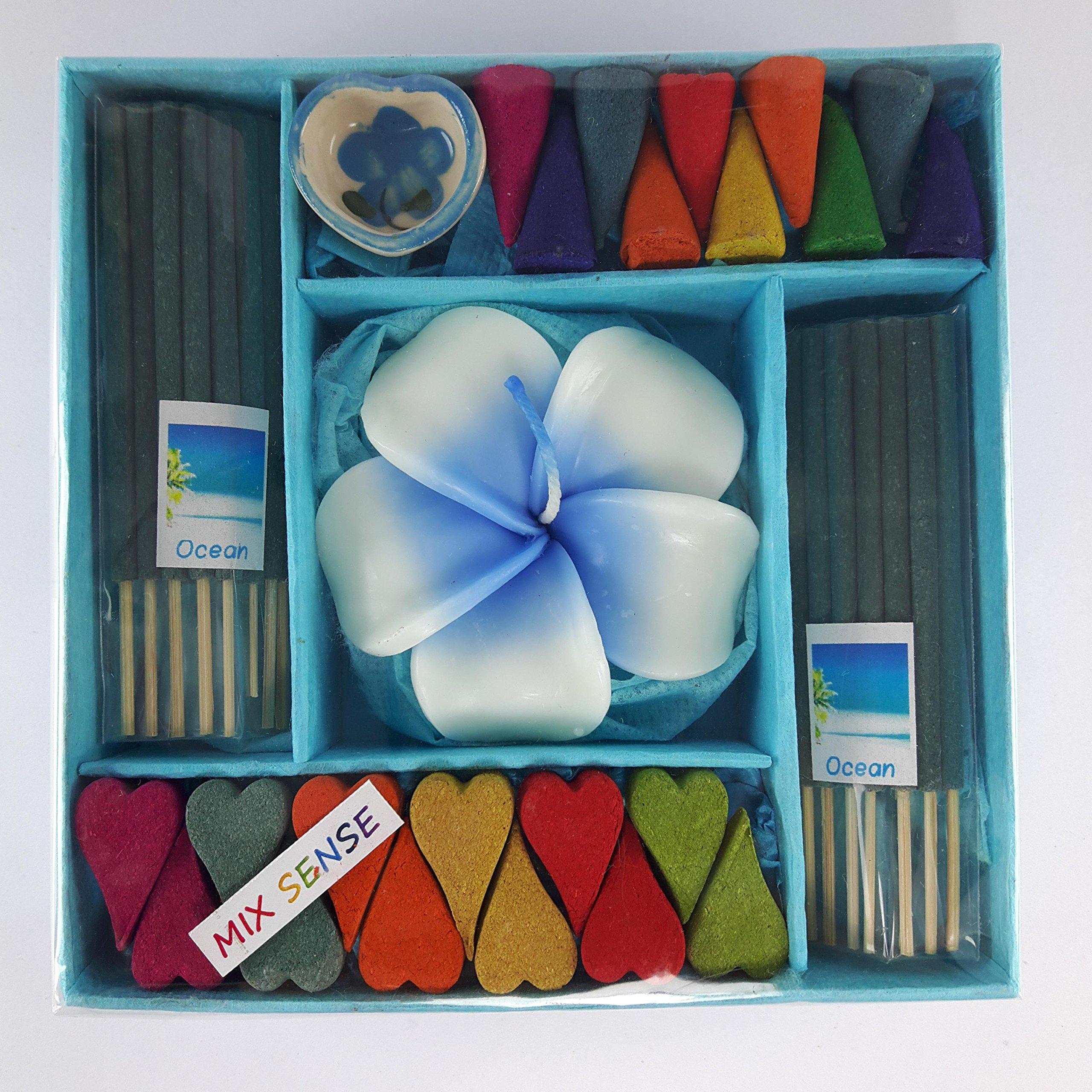 kornkorn87 Incense Spa Aroma Ocean Fragrance Cones Burner Holder Thai Scent Relax Sticks Ceramic Home Gift