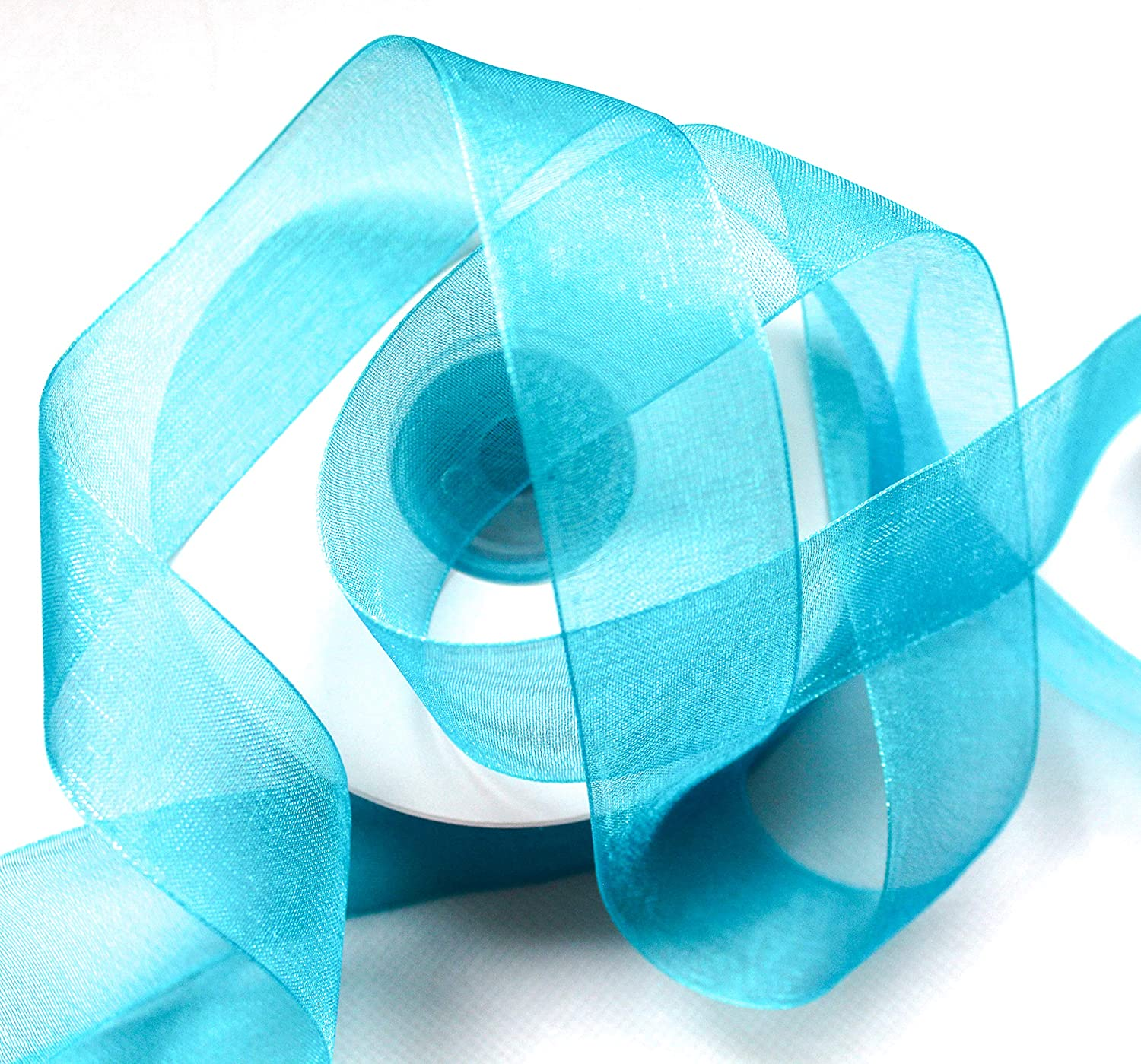 25m Organza Ribbon With Selvedge 2.5 cm Wide apple green