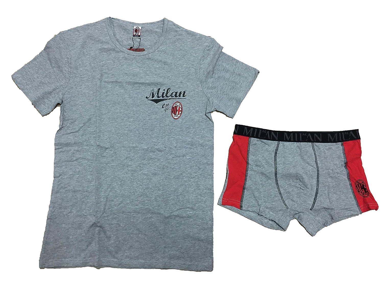 completo intimo bambino ragazzo A.C.M MILAN prodotto ufficiale t shirt girocollo e boxer elastico art.MI12038 GRIGIO)