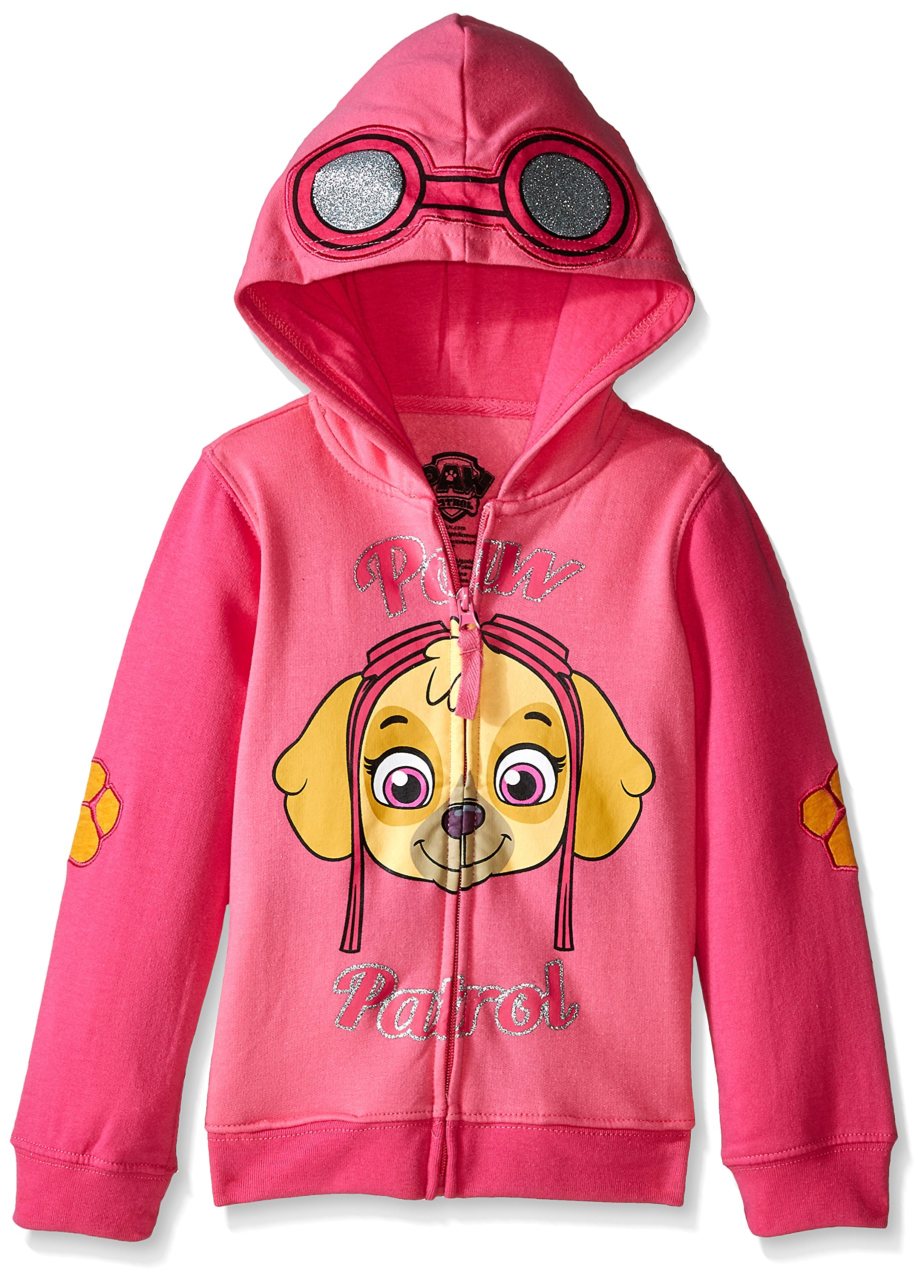Paw Patrol Little Girls' Skye Toddler Hoodie, Hot Pink/Heather Pink, 4T