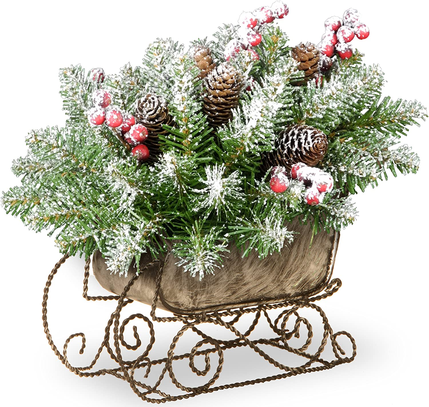 National Tree 10 Inch Dunhill Fir Sleigh with 6 Cones, 5 Red Berries and Snow (DUF3-800-10-1)