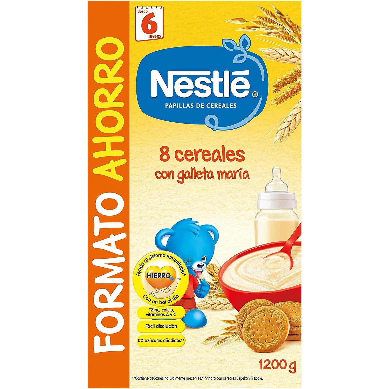 Nestlé Papillas 8 Cereales con Galleta María a Partir de 6 Meses - Paquete de 8 x 1.2 kg - Total: 9.6 kg: Amazon.es: Alimentación y bebidas