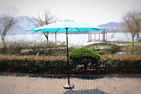 9 Patio Market Umbrella with Tilt and Crank – Teal